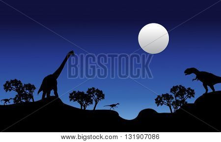 Beautiful scenery at night dinosaur in the hills