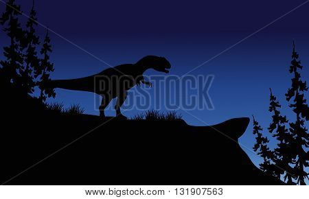 At night silhouette of Allosaurus in the hills