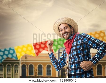Man having fun on Brazilian Junina Party