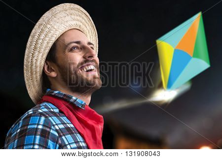 Brazilian man wearing junina costume
