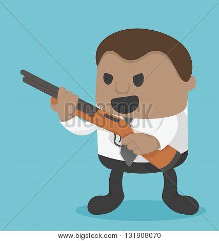 Young African Businessman holding a gun
