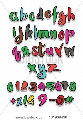Hand Drawn Alphabet Letters ,brush Style