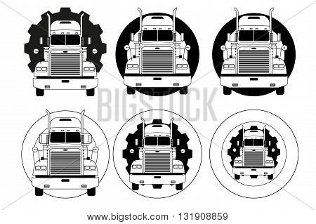 Set of Truck logo symbols for delivery company. Monochrome design. Vector Illustration isolated on background.