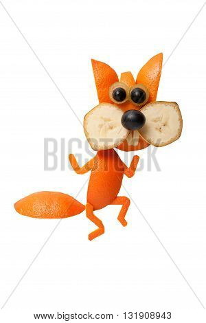 Funny dancing squirrel made of orange on isolated background