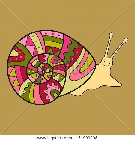 Snail with decorated shell. Cute vector illustration