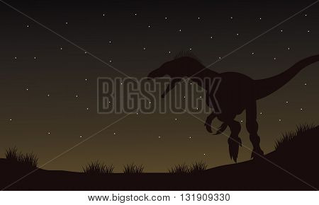 Eoraptor in fields at the night silhouette with brown backgrounds