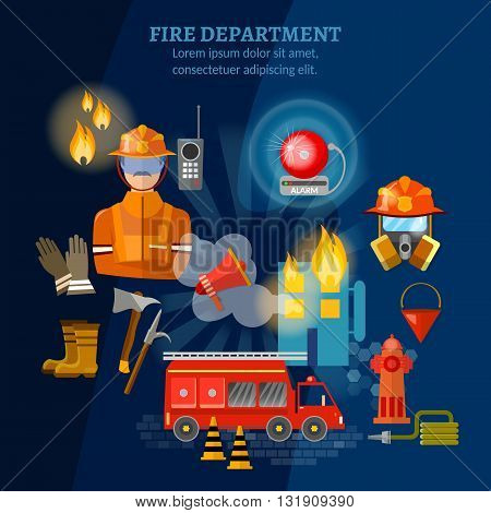 Firefighters set fire station fire fighting extinguish burning house vector illustration