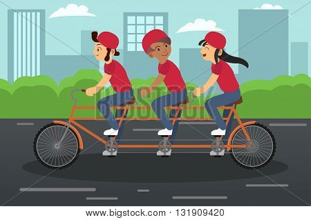 A vector illustration of kids riding a tandem bike together