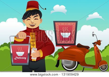 A vector illustration of man delivering Chinese food