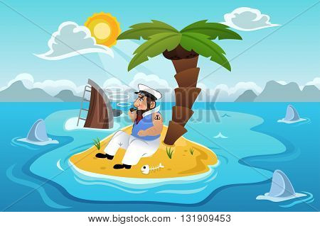 A vector illustration of sailor stranded in an island