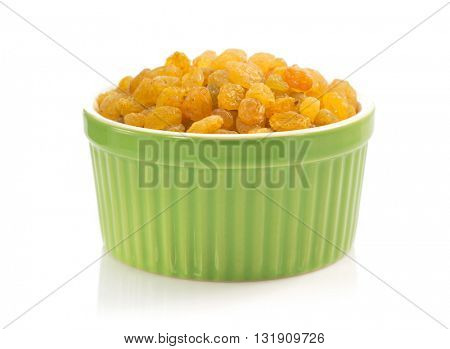 raisins in bowl isolated on white background