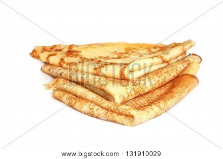 Triangular stack of pancakes on a white background