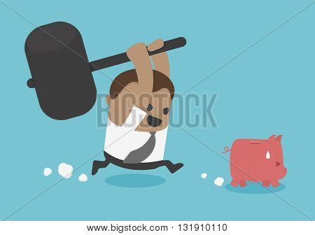 piggy bank to be destroyed illustration vector eps .10