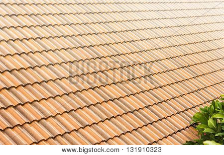 Background Of Home Carved Roof-tile Texture, Raining And Roof-tile For Rainy Season Background