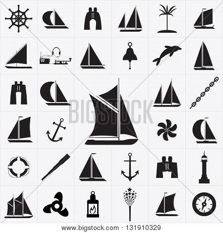 Set of icons on the theme of travel by sea. Sailboat Icon.