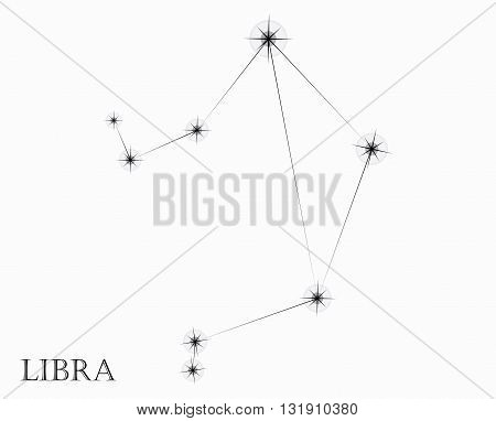 Libra Zodiac sign, black and white vector illustration