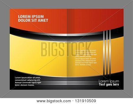 Catalog or brochure template design. Vector empty bi-fold brochure print template design
