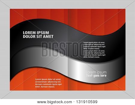 Empty bi-fold brochure template design with red color, booklet