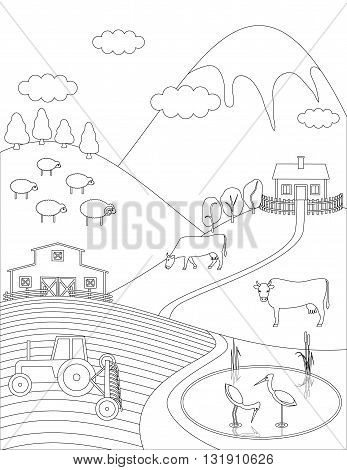 Coloring page farm countryside background. Birds animals trees lake. Vector illustration.