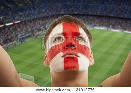 English fans at the stadium. Football, soccer fan