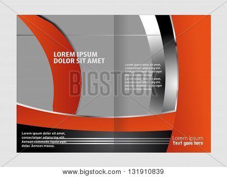 Bi-fold brochure template design, business leaflet, booklet