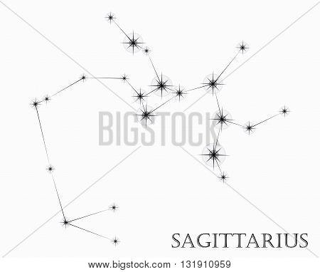 Sagittarius Zodiac sign, black and white vector illustration
