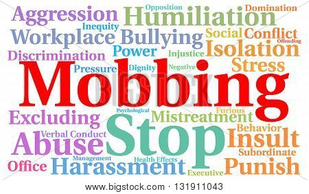 Mobbing word cloud concept with a white background
