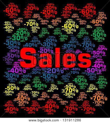 Sales with percentages word cloud concept illustration