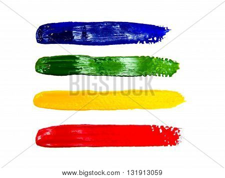 Multi coloured strokes of the paint brush isolated on a white