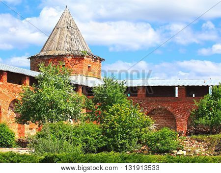 Ancient massive wall and wall tower of Kremlin in Zaraysk Moscow region