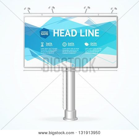Billboard Concept with Blue Wave. Vector illustration