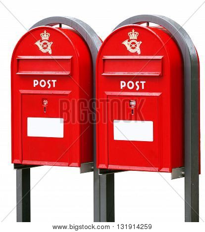 Two red post office boxes isolated on white