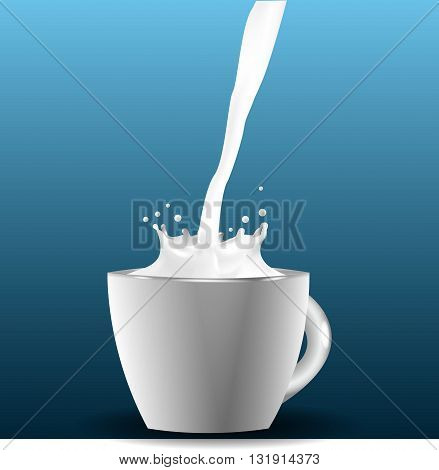 White cup of milk with splash on blue background illustration