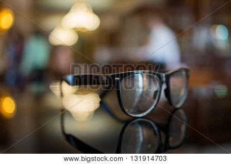Glasses with blurred background