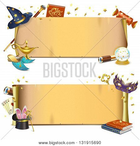 Vector Magic Paper Scrolls isolated on white background
