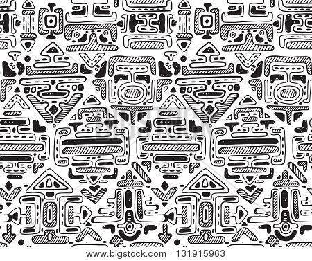 Vector seamless pattern with hand drawn ornament maya on white background