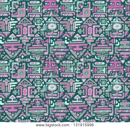 Vector seamless pattern with hand drawn color ornament maya on black background. Textile print.