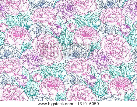Vector seamless pattern with hand drawn peony flowers. Tender colors endless background.