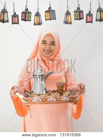 Happy girl ready for Ramadan