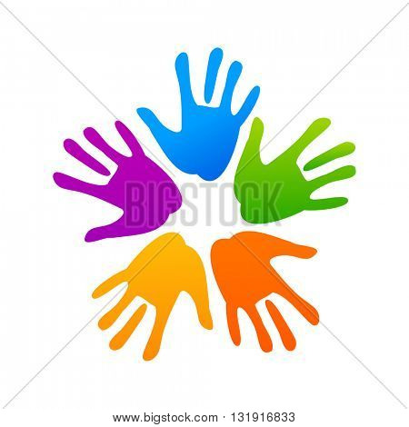 Concept of community unity. Hands connecting. Internation community. Concept logotype template. Vector graphic illustration.