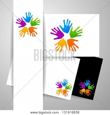 Concept of community unity - identity design presentation. Hands connecting, Teamwork  logo. Concept logotype template. Vector graphic illustration.