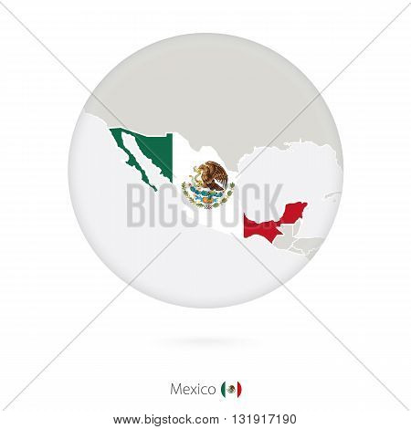 Map Of Mexico And National Flag In A Circle.