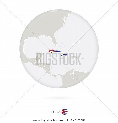 Map Of Cuba And National Flag In A Circle.