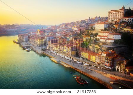 Ribeira and Douro river Porto at sunset, Portugal, retro toned