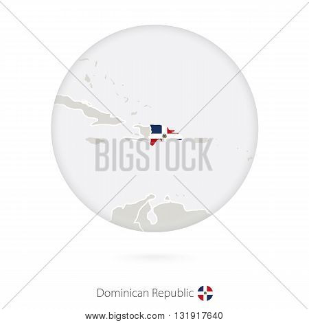Map Of Dominican Republic And National Flag In A Circle.