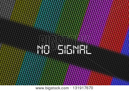 Close up pixels of LCD TV screen with bars is a television test pattern