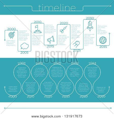 Thin line timeline infographic with business icons .