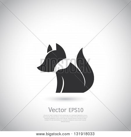 Stylized fox icon. Vector silhouette with gray background.