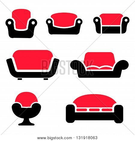 Vector sofas and couches icons set on white background. Sofa furniture. Vintage furniture.