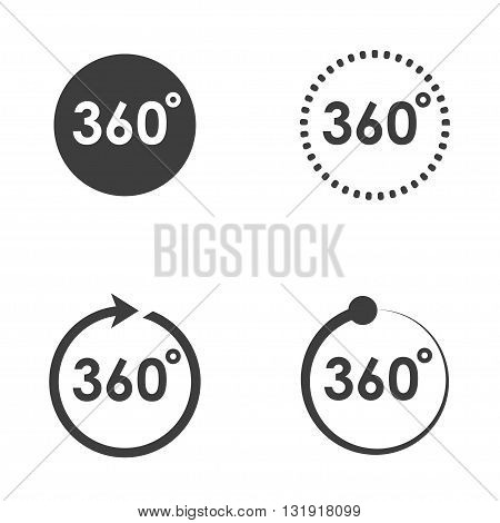 Vector black 360 Degrees icons set on white background. Geometry math symbol. Full rotation